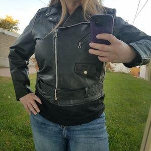 Vintage cropped leather biker jacket belted 1X 18